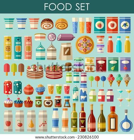 Food set. vector - stock vector