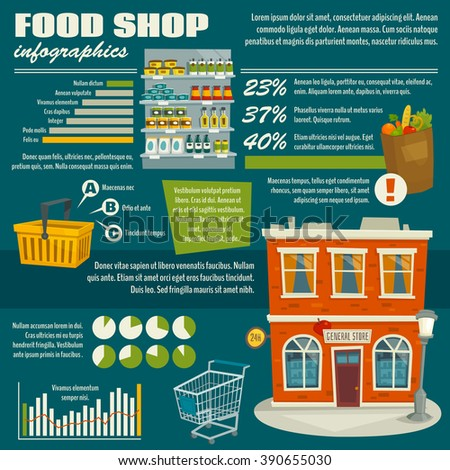 Food shop infographics template, supermarket statistics, cartoon vector illustration with data and diagrams - stock vector