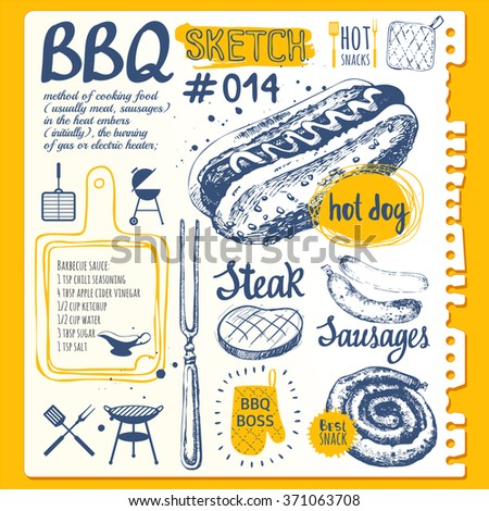 Food sketchbook with BBQ party.  Vector illustration with barbecue. Vector illustration of festive traditional American food. Labels of weekend party: sausages and hot dogs. Barbecue. - stock vector