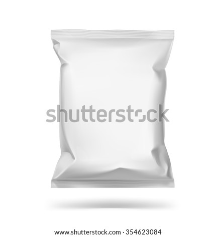 Food snack pillow bag on white background. Vector illustration. Can be use for template your design, promo, adv.