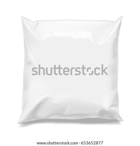 Food snack pillow Realistic package. Polyethylene packing of goods. Mock up for brand template. vector illustration.