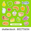 Food stickers - stock vector