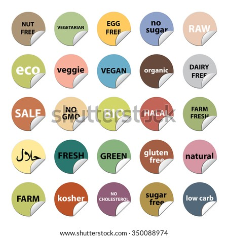 Food stickers set. Eco, bio, fresh, vegetarian, organic, diet, halal and more.