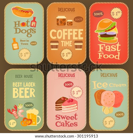 Food Stickers Tags Collection in Retro Design. Mini Posters Vintage Labels Set. Vector Illustration.