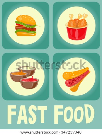Food Stickers Tags Collection. Vector Illustration.
