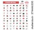 food, store, shopping, retail, sales  icons, signs vector concept set for infographics, mobile, website, application  - stock vector
