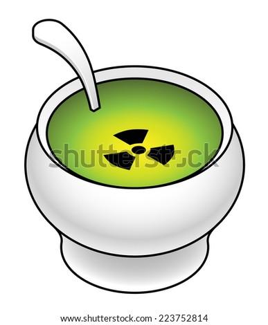Food supply contamination concept: radioactive soup. - stock vector
