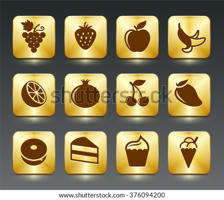 Food Sweets and Snacks on Gold Square Buttons