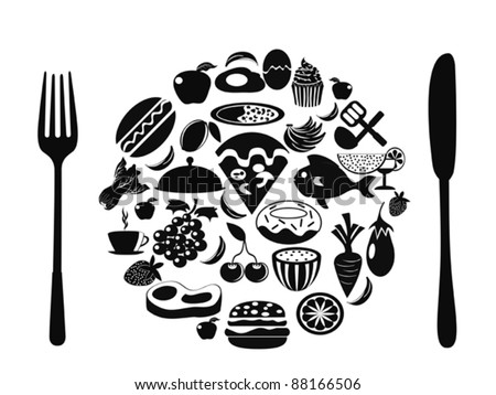 food symbol with food icons - stock vector