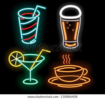 Food symbols in neon isolated on black - stock vector