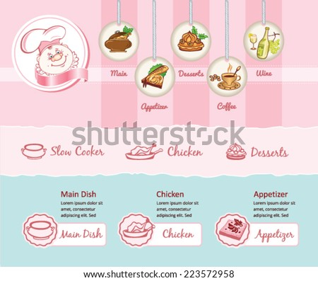Food theme for web template - stock vector