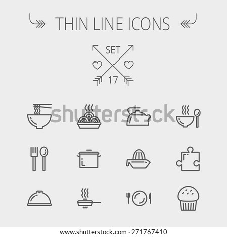 Food thin line icon set for web and mobile. Set includes- cupcakes, spoon and fork, plate, kettle, casserole, hot meal, frying pan icons. Modern minimalistic flat design. Vector dark grey icon on - stock vector