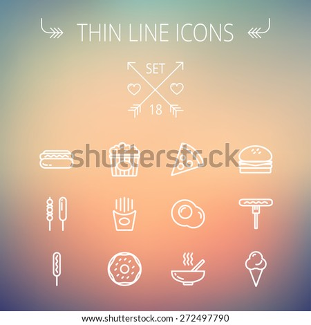 Food thin line icon set for web and mobile. Set includes- cupcakes, spoon and fork, plate, kettle, casserole, hot meal, frying pan icons. Modern minimalistic flat design. Vector white icon on gradient - stock vector