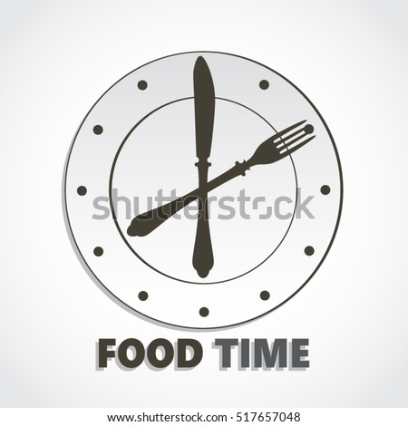 food time clock with knife and fork