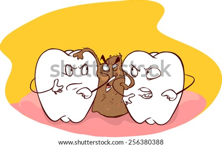 food trapped between teeth - stock vector