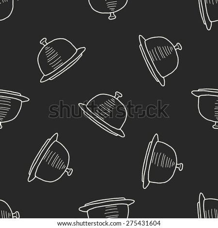 food tray doodle seamless pattern background