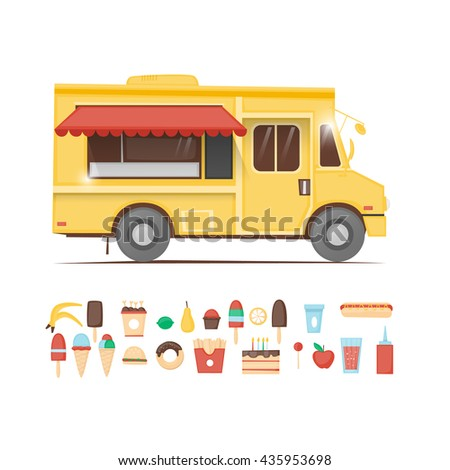 Food truck. Beverages, confectionery, coffee and cakes, ice cream, hot dog, burger, donut, candy, fruit. Set of icons. Flat design vector illustration. - stock vector