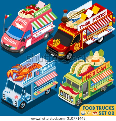 Food Truck Collection. Food Delivery Master. Street Food Chef Web Template. NEW Flat 3d Isometric Vector Food Truck Set. Full of Taste and High Quality Dishes Alternative Street Cuisine - stock vector
