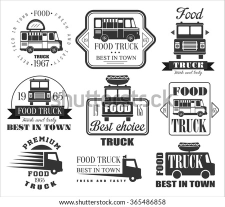 Food Truck Emblems, Icons and Badges. Vector Illustration Set - stock vector