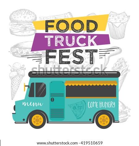 food truck festival menu food brochure stock vector 419510659 shutterstock. Black Bedroom Furniture Sets. Home Design Ideas
