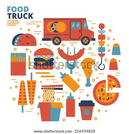 Food Truck, Flat Design, Illustration - stock vector