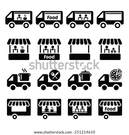 Food truck, food stand and food trailer icons set - stock vector