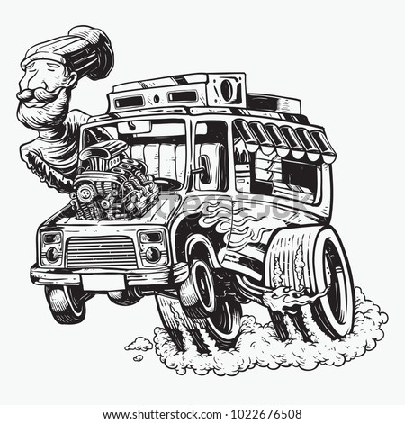 food truck hot rod big machine flaming and smoked wheels illustration hand drawing black and white