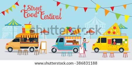 Food Truck, Street Food Festival, Food and Drink, Ice Cream, Pizza - stock vector