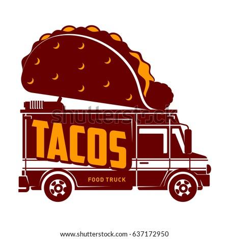 Food Truck Tacos Logo Vector Illustration Vintage Style Badges And Labels Design Concept For