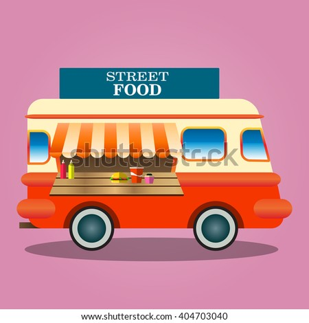 Food truck vector flat illustrations. Retro foods truck with fast food against the sky. Nutrition concept. Junk food, beverages, confectionery, coffee and cakes  - stock vector
