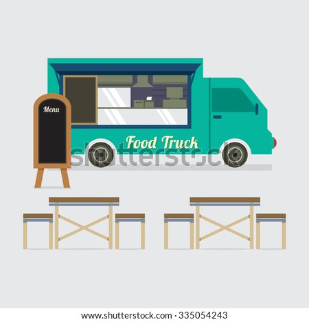 Food Truck With Table Set Vector Illustration
