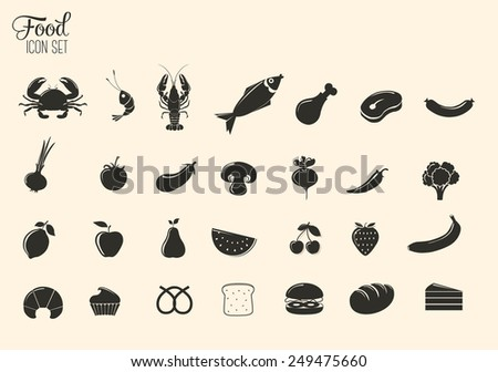 Food vector icon set - stock vector