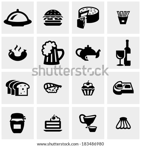 Food vector icons set on gray  - stock vector