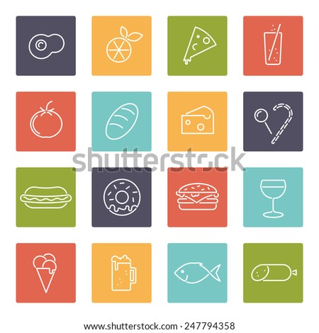 Food vector line icons set. Collection of 16 modern food line icons in rounded squares vector illustration - stock vector