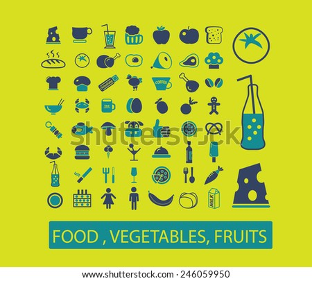 food, vegetables, fruits, drinks, bakery, fish, pizza, restaurant, cafe icons, signs, illustrations set, vector - stock vector