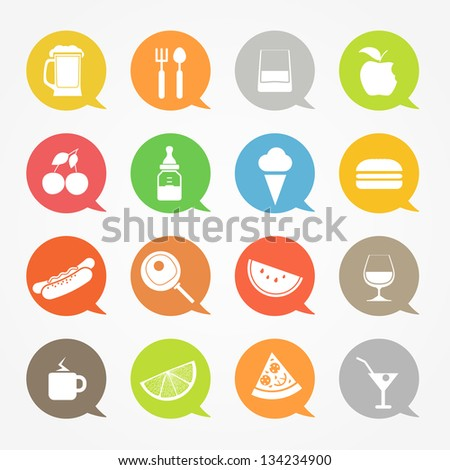 Food web icons set in color speech clouds - stock vector