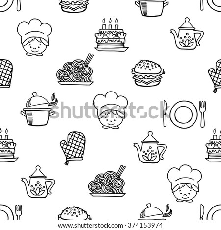 Food white and black seamless pattern. Background Kitchen.