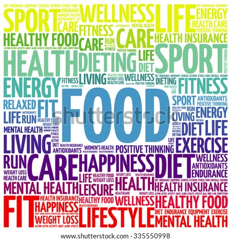 FOOD word cloud background, health concept - stock vector