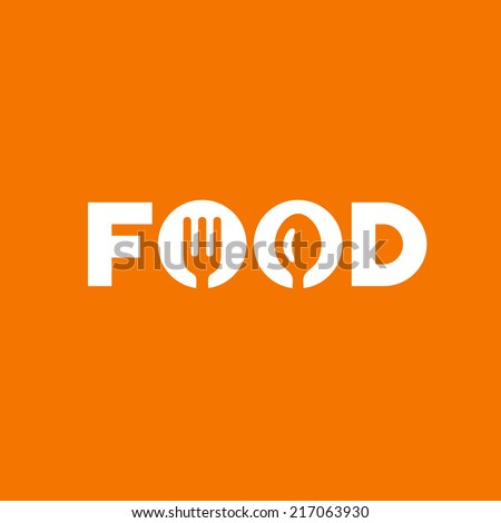 Food word sign logo icon design template elements with spoon and fork. Vector color emblem. - stock vector