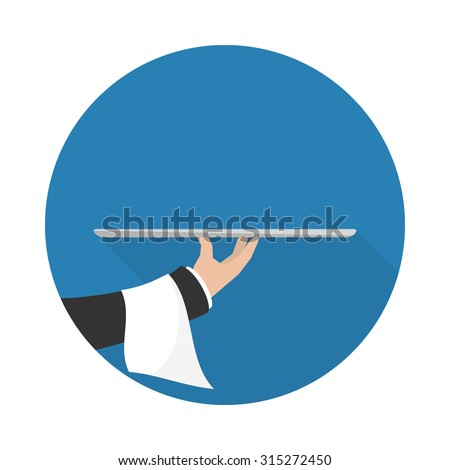 Foods Service icon with long shadow. Food Serving empty tray platter. Simple flat vector. - stock vector