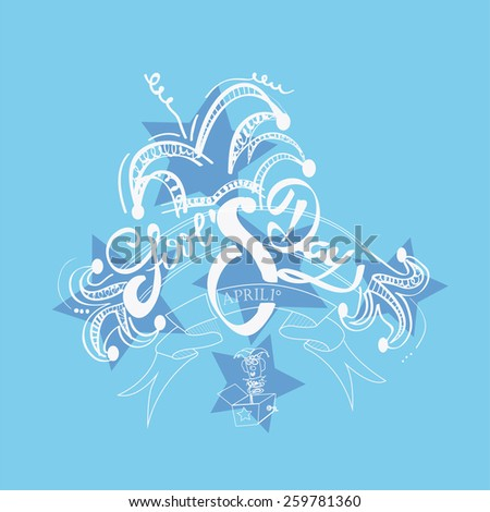 Fool's day text over blur background with two jokers  over blue color  background - stock vector