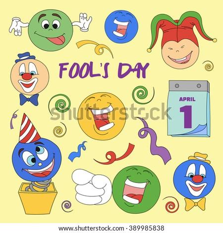 Fools day- 1 April. Smile, laugh, joke. Vector illustration, EPS 10 - stock vector