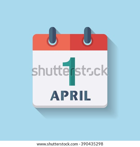 Fools Day. Flat vector calendar icon with the date 1st april - stock vector