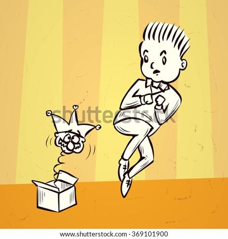 Fools day joke. Hand drawn cartoon vector illustration. - stock vector