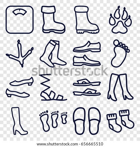 Foot Icons Set Set 16 Foot Stock Vector 656665510 Shutterstock