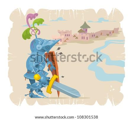Foot knight in battle. Cartoon, 4, vector - stock vector
