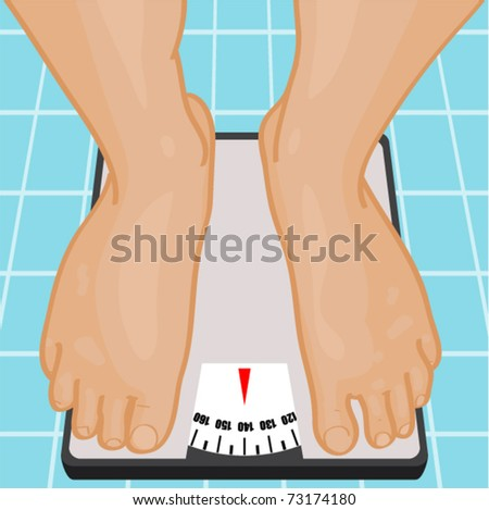 Foot on bathroom scale. Vector illustration. - stock vector
