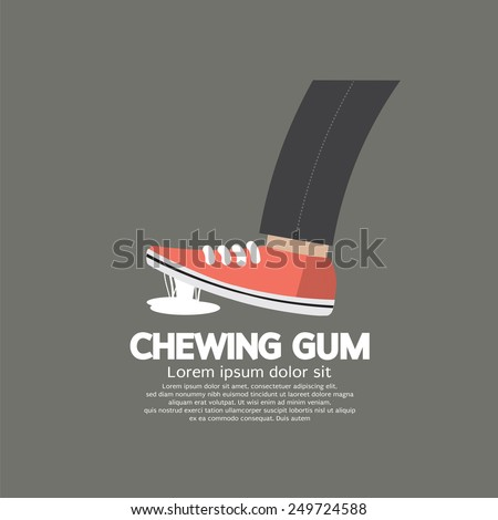 Foot Stuck Into Chewing Gum On Street Vector Illustration - stock vector