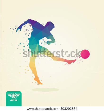 Footbal (soccer)l player, striking the ball with his foot. Blurred movement of the ball. Stylized polygonal. vector eps8.