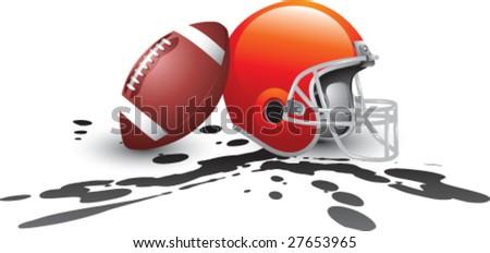football and helmet muddy - stock vector